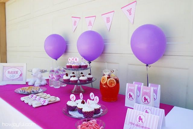 pink and purple table