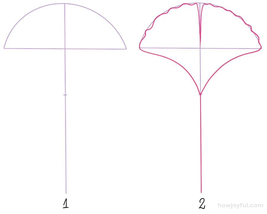 how to draw a ginkgo leaf