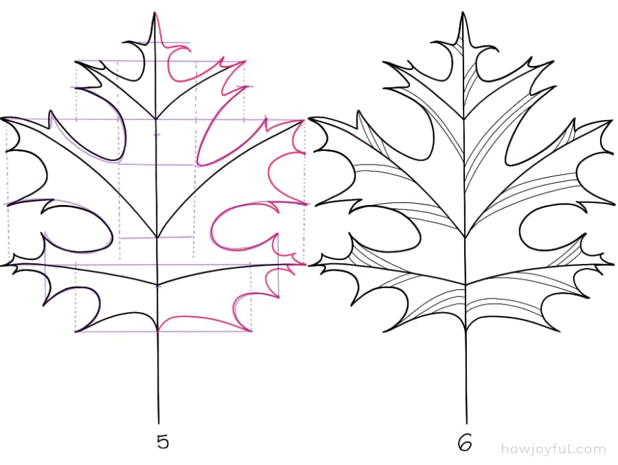 how to draw a red oak leaf