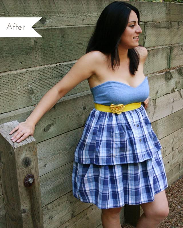 strapless upcycled dress