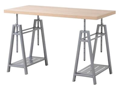 grey sawhorse desk