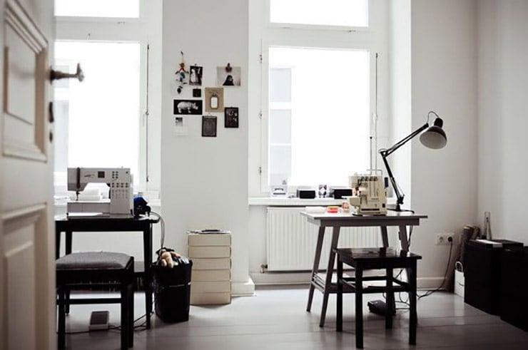 minimalistic sewing room