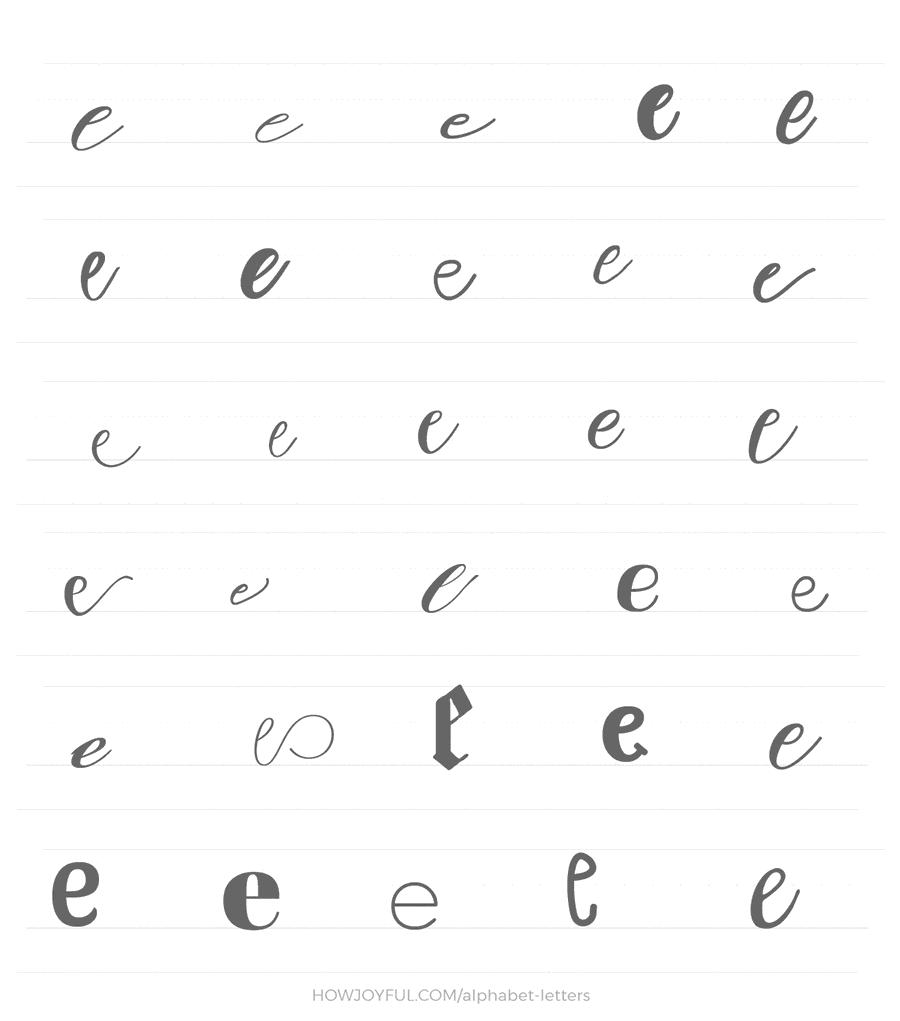 lowercase e 30 ways