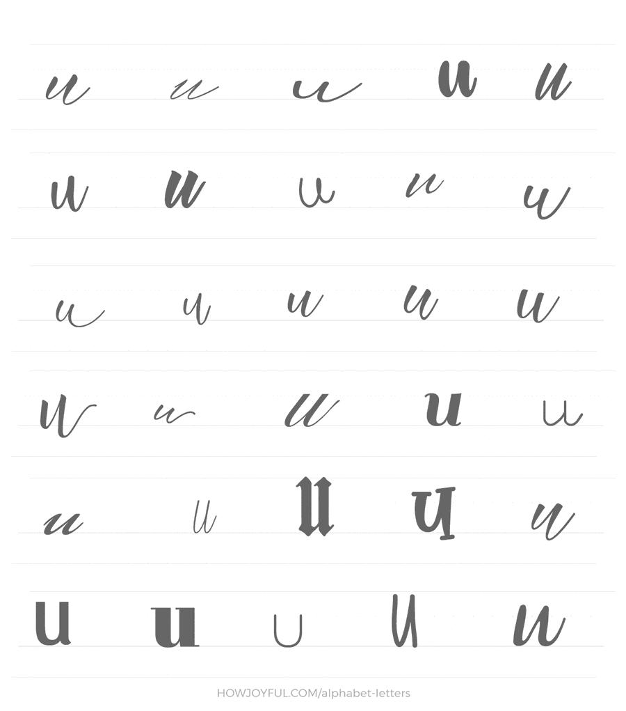 lowercase u 30 ways