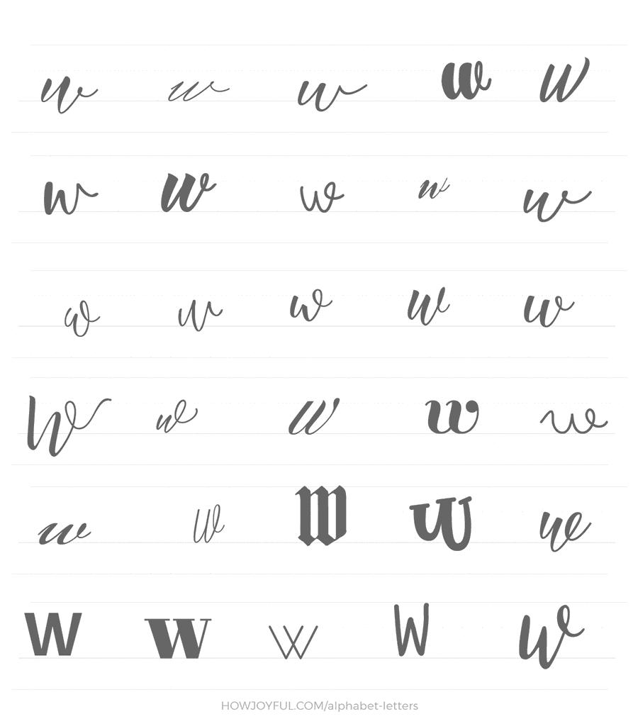 lowercase w 30 ways