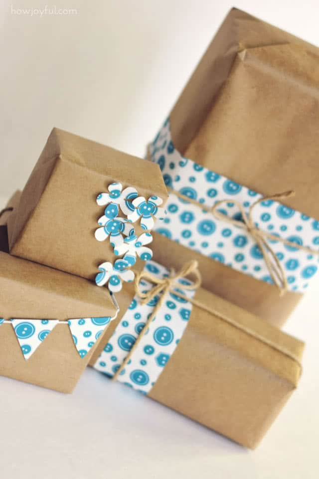 wrapping paper buttons