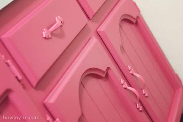 painted cabinets details in pink
