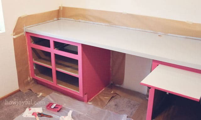 painting the cabinets pink