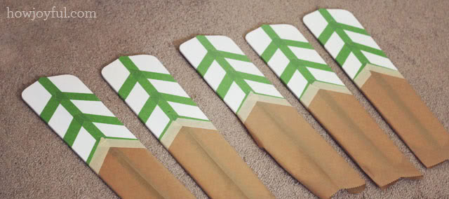 painters tape in the blades