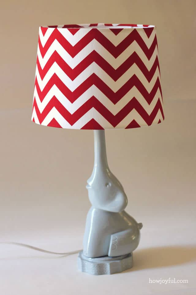 The elephant lamp with chevron lampshade