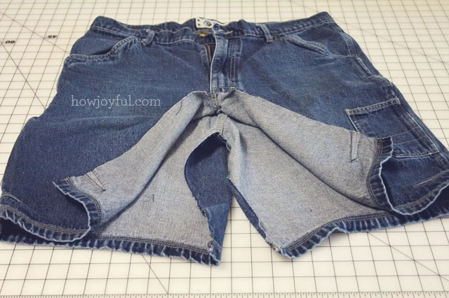making a skirt from shorts