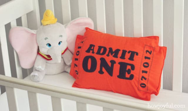 circus ticket pillow