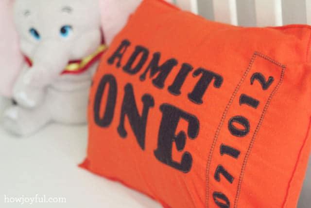 big circus ticket pillow