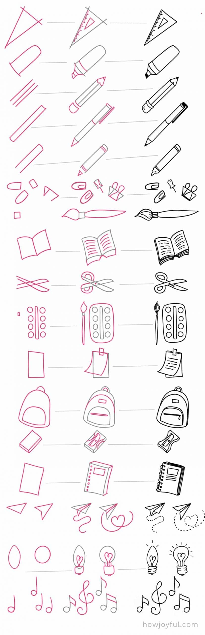 easy school things to draw