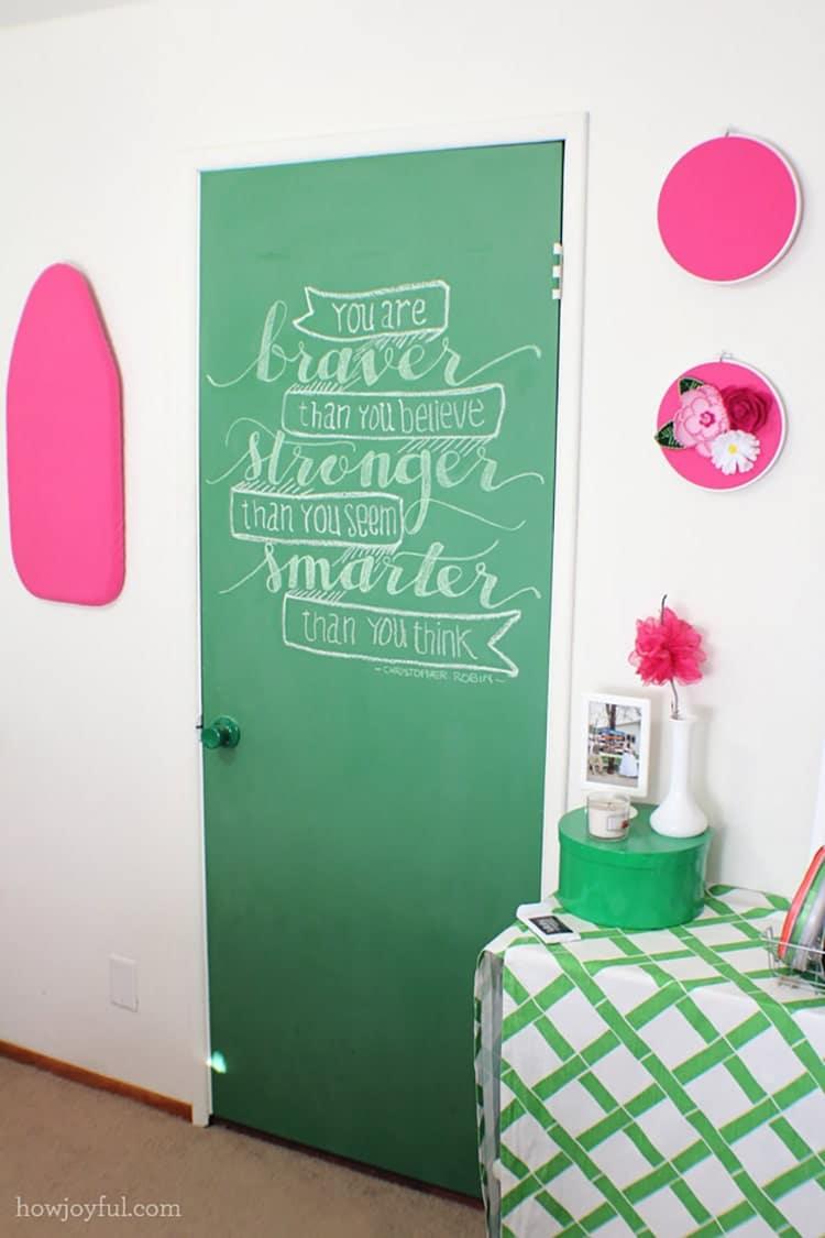 chalk door in craft room