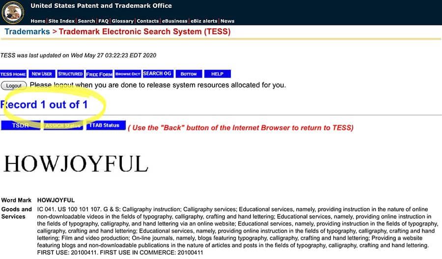 trademark database search