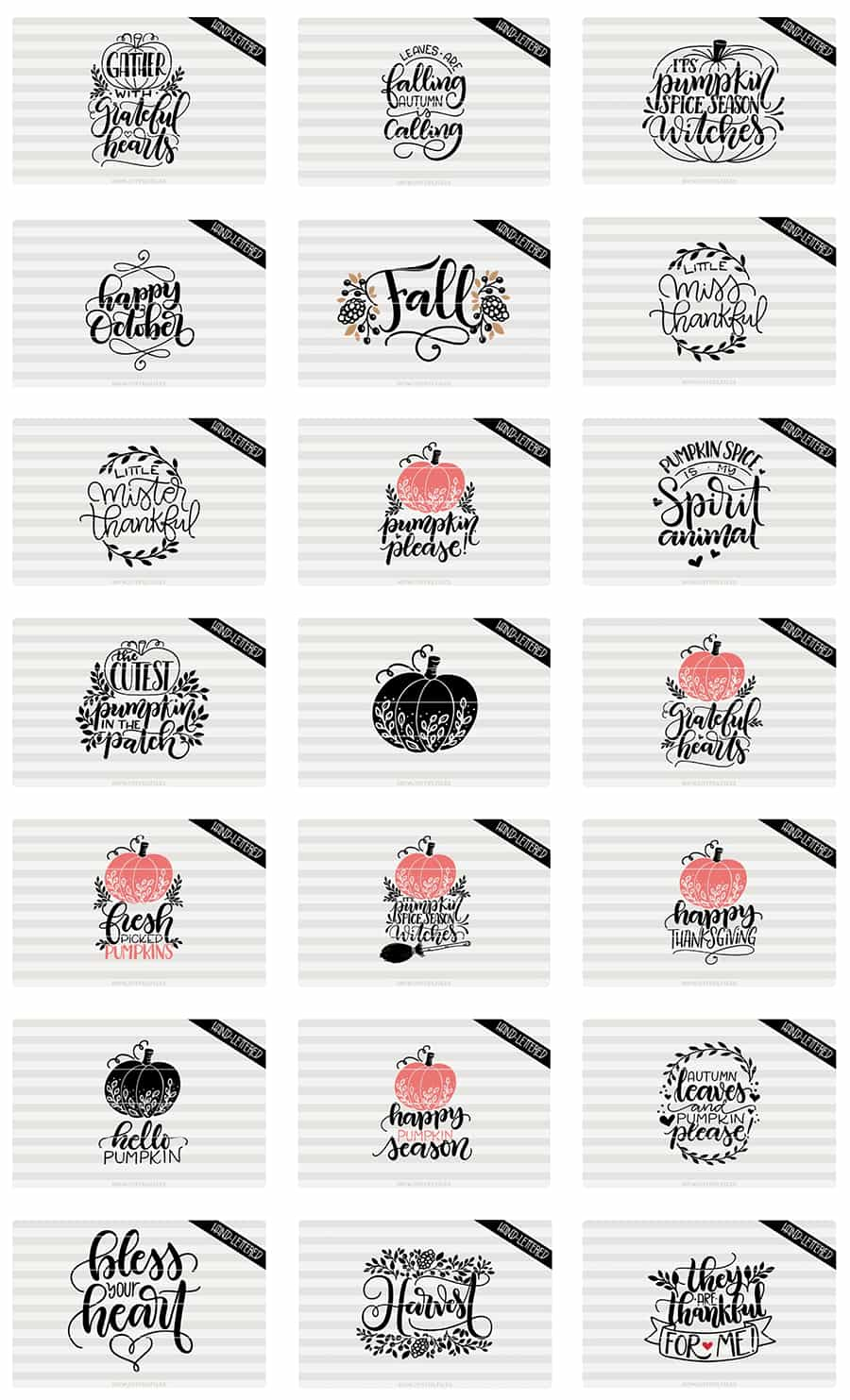 Fall quotes hand-lettered