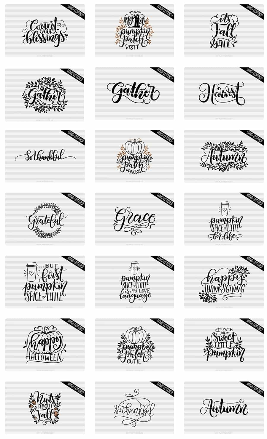 Fall sayings hand-lettered