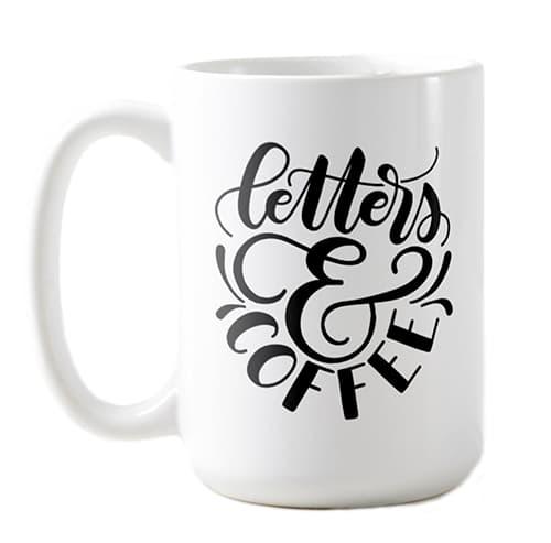 coffee letters mug