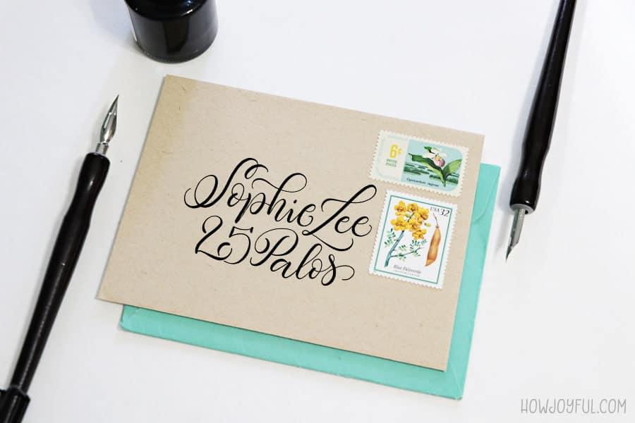 calligraphy envelope sample