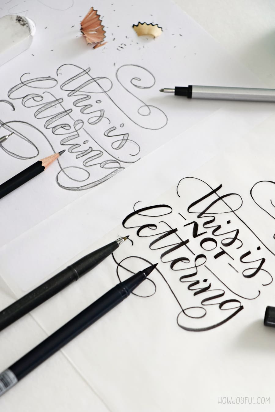 Examples of the difference between lettering and brush calligraphy