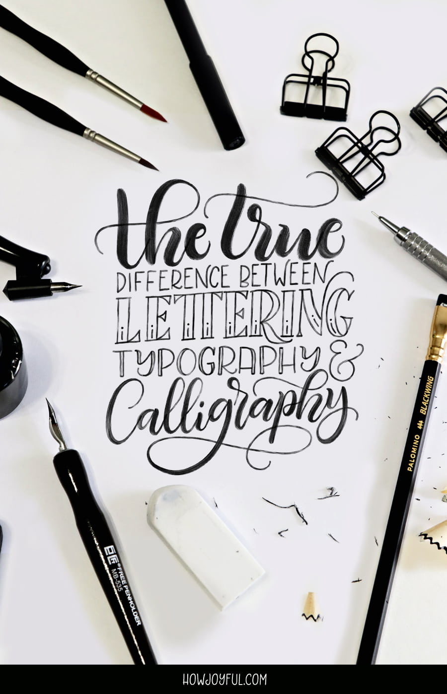 Lettering calligraphy and typography differences