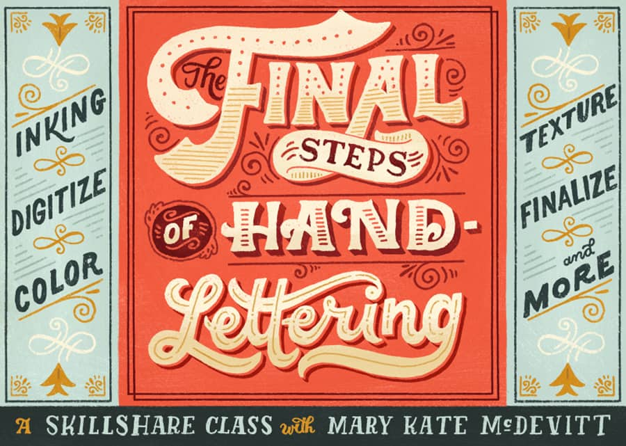 The final steps of hand lettering class