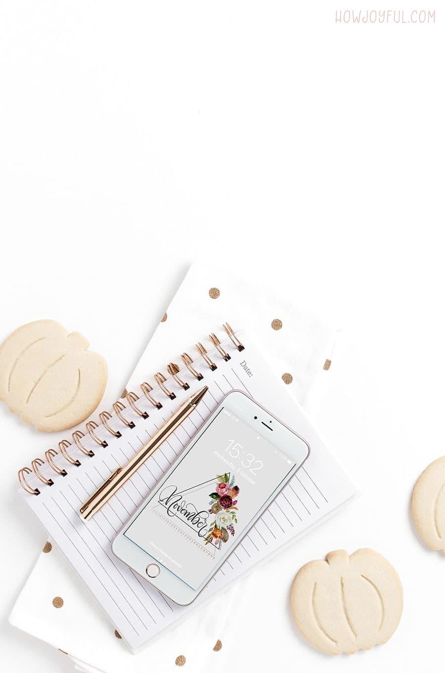 FREE November tech calendar print and wallpaper - Hand lettered watercolor calendar