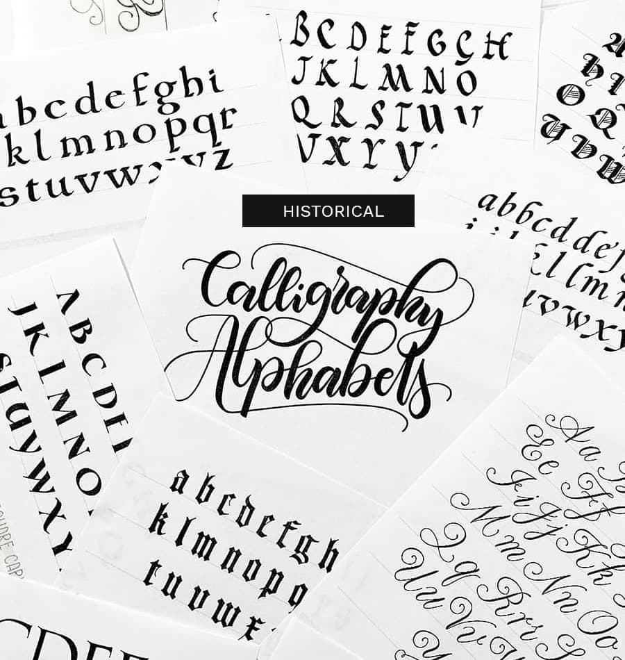 historical calligraphy alphabets