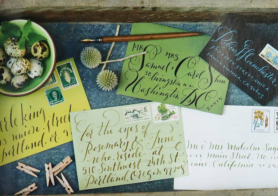 Modern calligraphy envelope samples