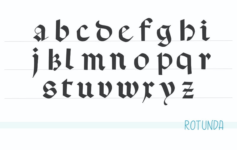 Rotunda calligraphy alphabet