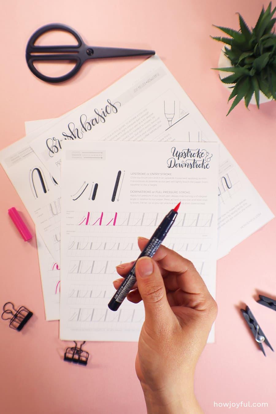 brush pen basics worksheets