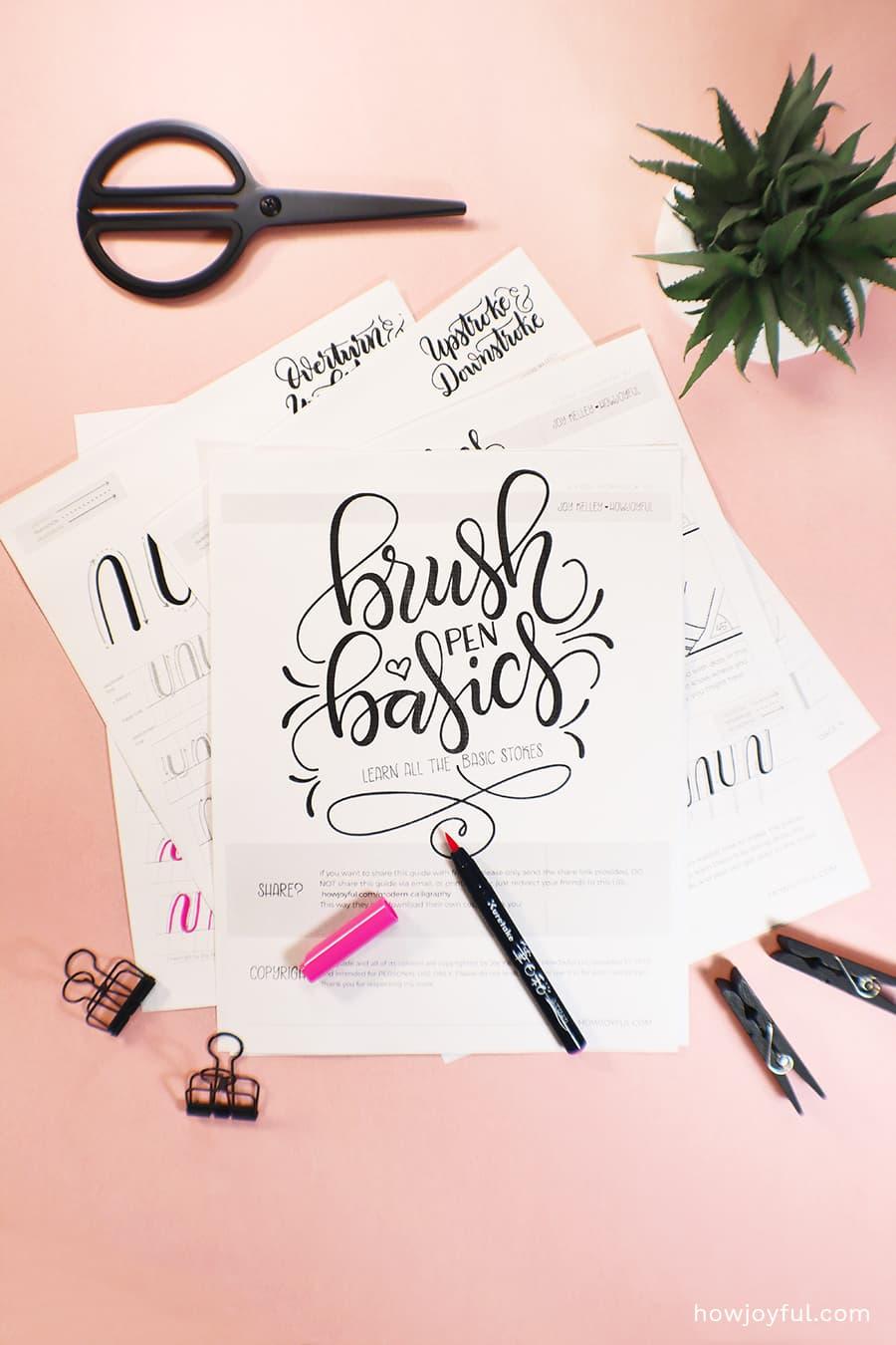 Brush pen basics FREE printable