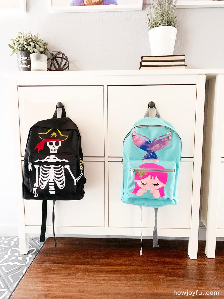 Mermaid and pirate backpacks
