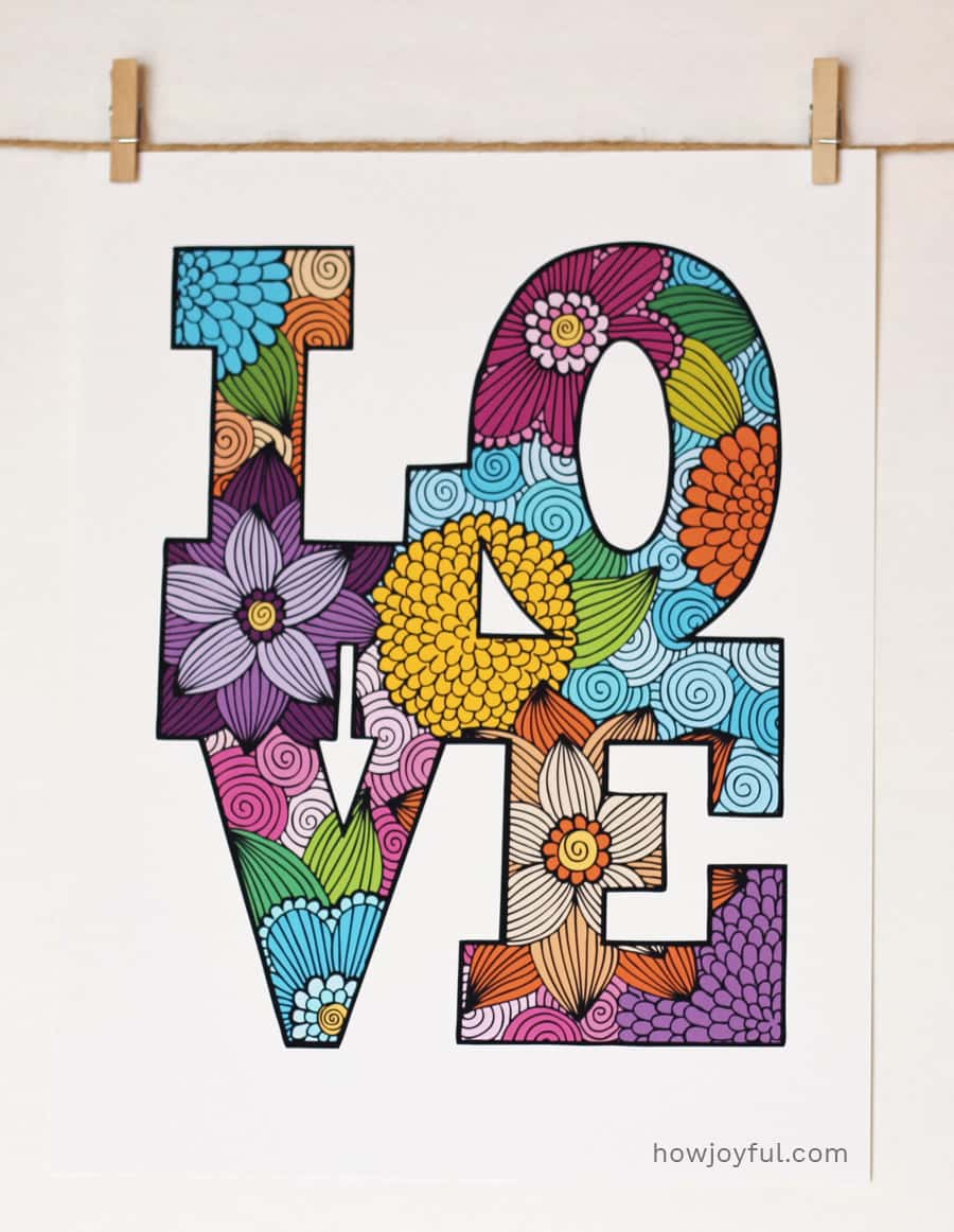 love example lettering coloring