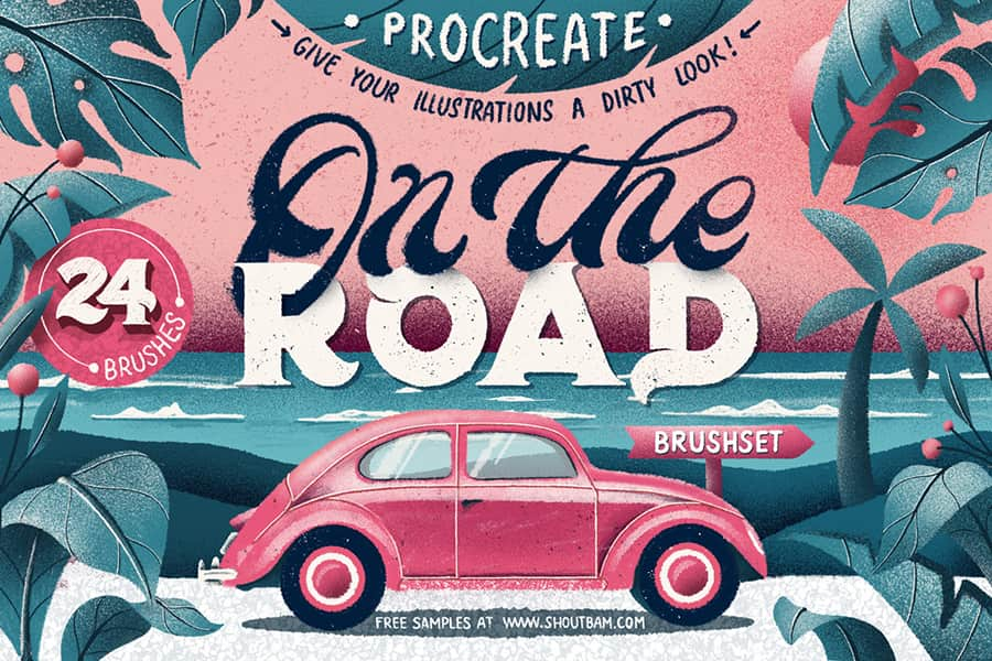 on the road procreate texture brushes