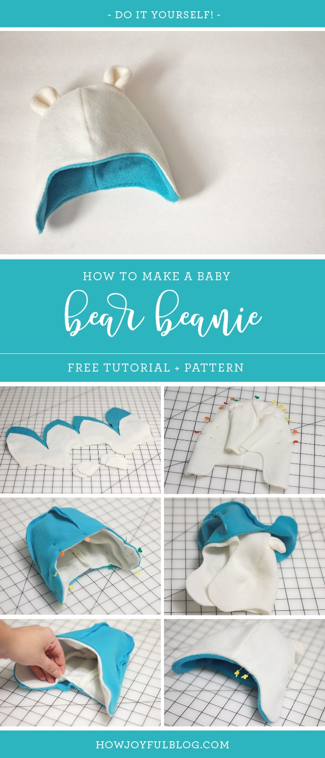 How to make a baby beanie with teddy bear ears - Tutorial and pattern by Joy Kelley from @howjoyful