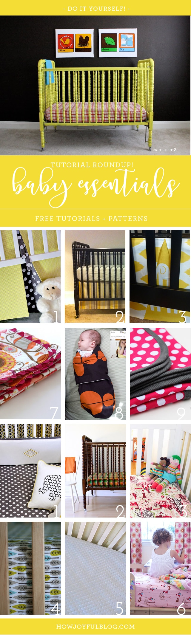How to sew a crib bedding and nursery essentials - Sewing tutorials roundup by @howjoyful