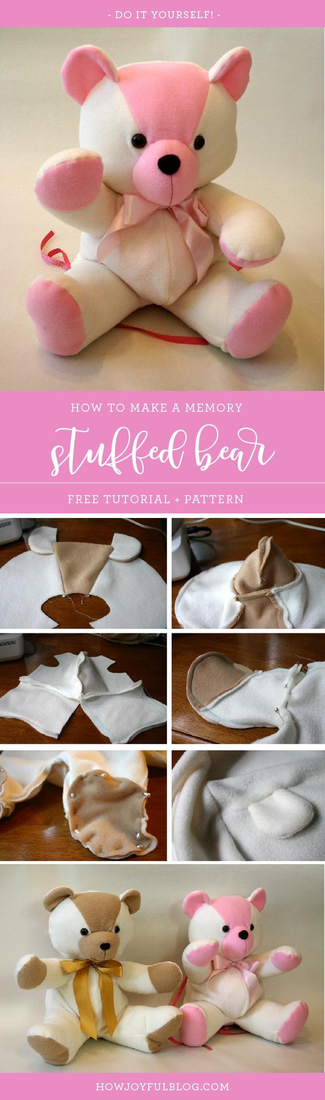 How to make a stuffed bear - Tutorial and Pattern - HowJoyful Bear by Joy Kelley from @howjoyful