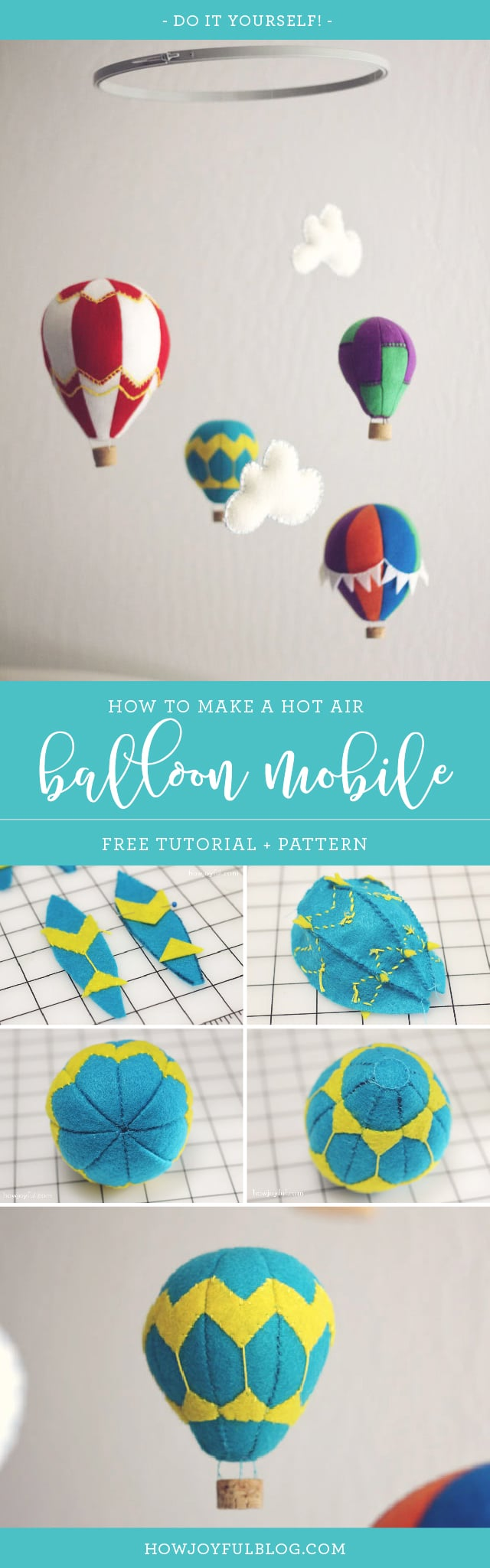 How to make a hot air balloon mobile with felt - tutorial and pattern - Nursery by Joy Kelley of 