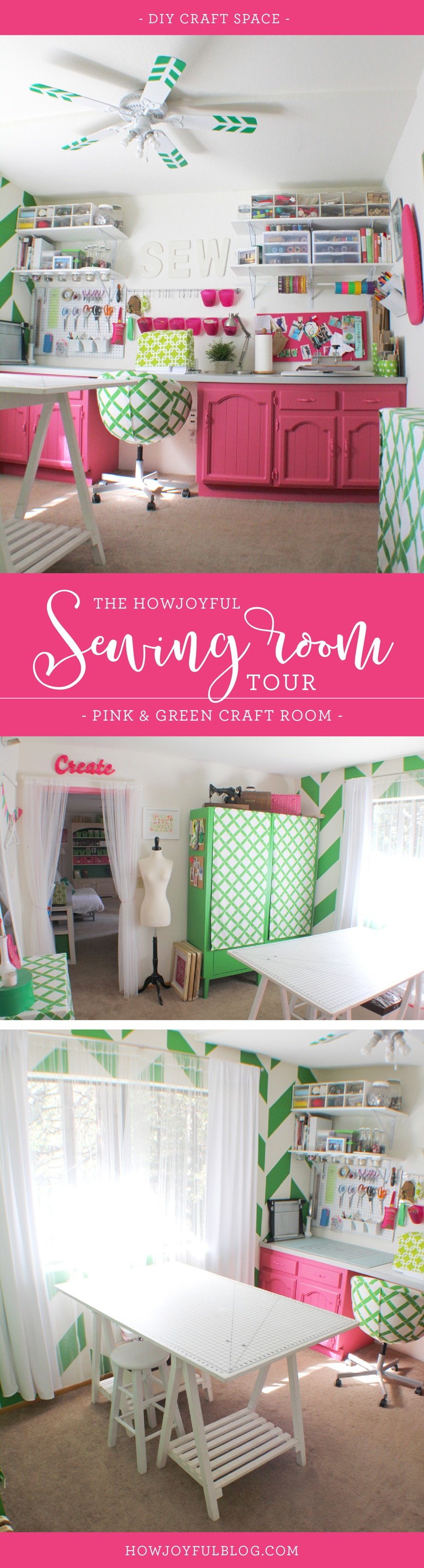 The HowJoyful sewing room tour - Pink and green craft space