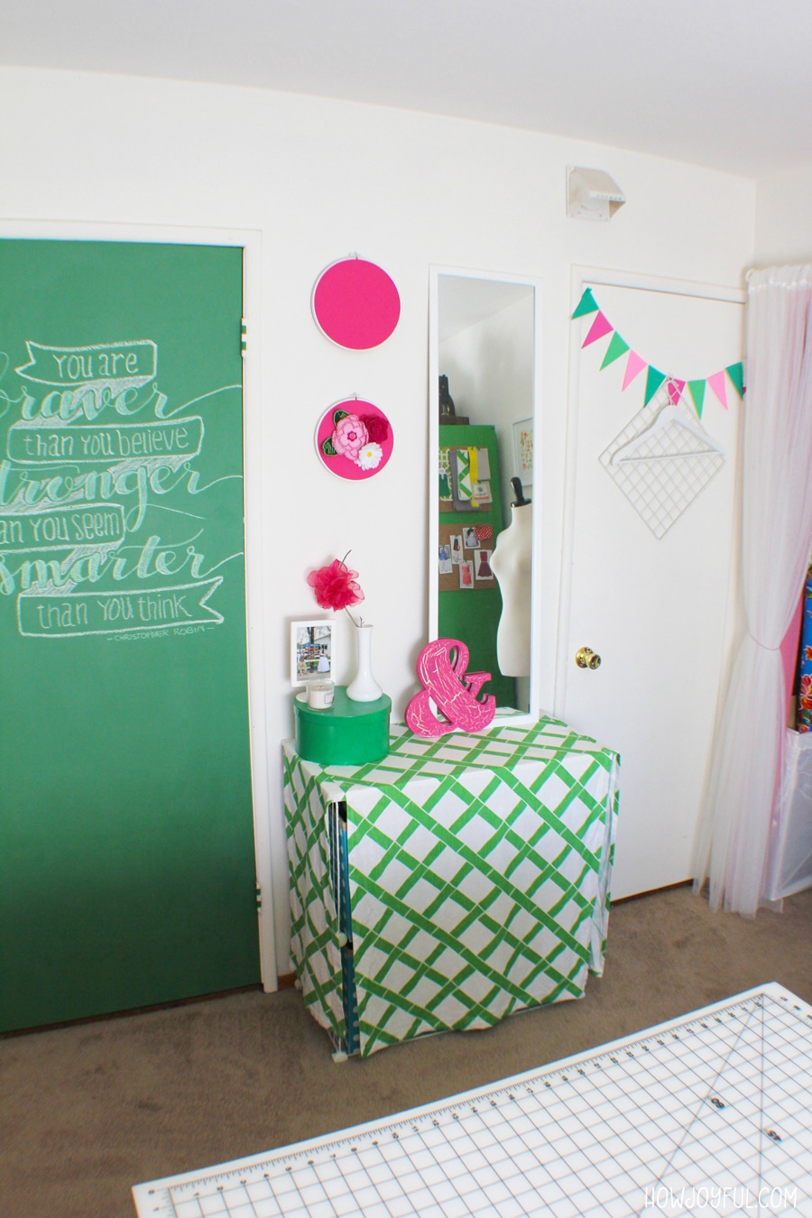pink and green storage
